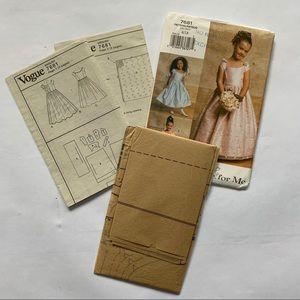 NWT 2/$20 Vogue Girls Dress Pattern Size 6, 7, 8
